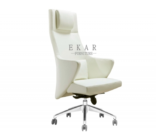 Luxury Office Wing Armrest White Leather Head Support Executive Recliner Chair