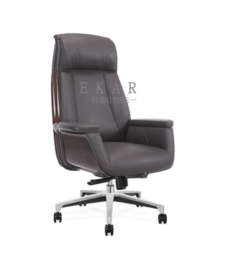 Large Dark Brown Real Leather King Throne Office Chair