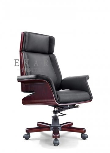 Unique Designs Executive Wooden Leather Recliner Office Chair