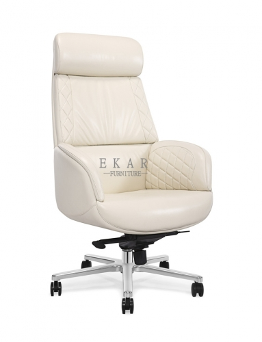 For Fat People Executive Creamy White Luxury Leather Office Chair