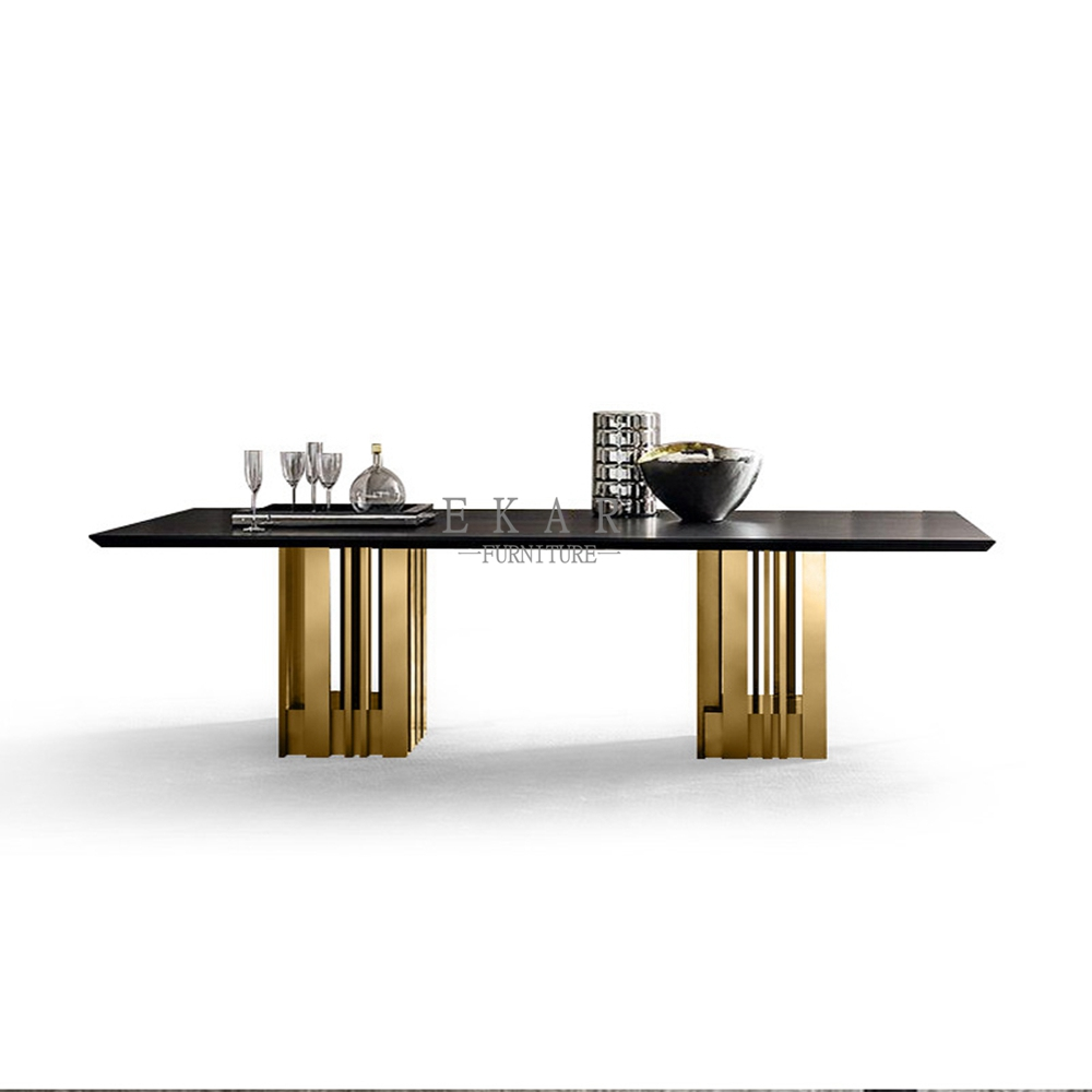 Modern Dining Room Furniture Wood Marble Square Dining Table For 8 Ekar Furniture