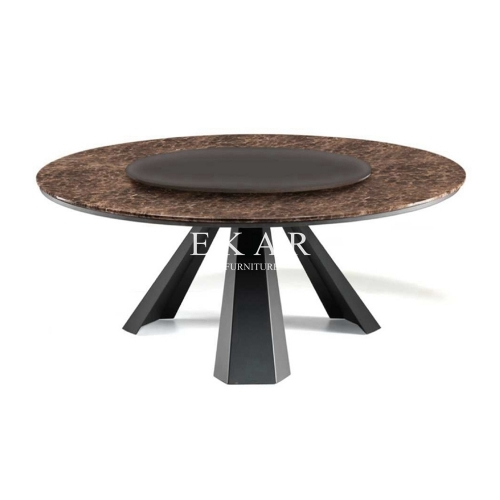 Dining Room Furniture Metal Modern Large Round Dining Table