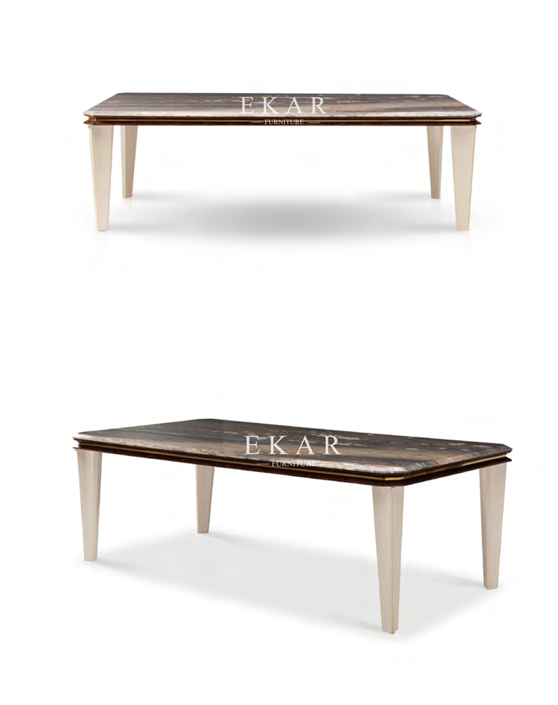 Rectangle 8 Seater Marble Top Dining Table Ekar Furntiure