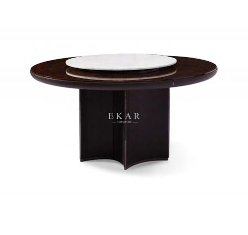 Black Contemporary Round Dining Table With Marble Turntable