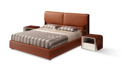 Upholstered Kingsize Modern Leather Bed