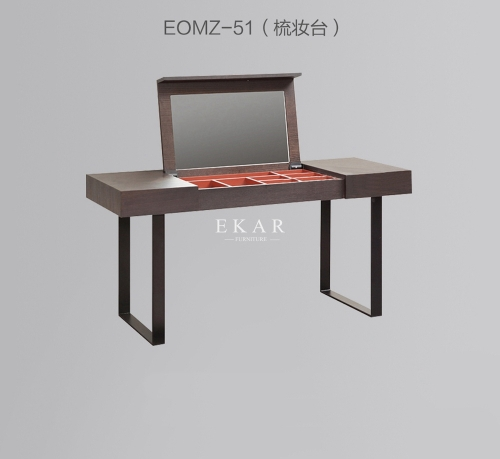 Modern Wood Metal Legs Dressing Table With Mirror
