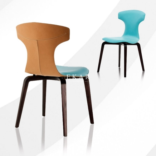 Nordic Designer Wooden Legs Leather Dining Chair
