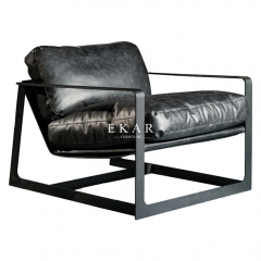Leather Metal Base Modern Furniture Living Room Chair