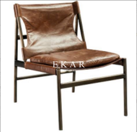 Stainless Steel Frame Leather Leisure Chair For Living Room