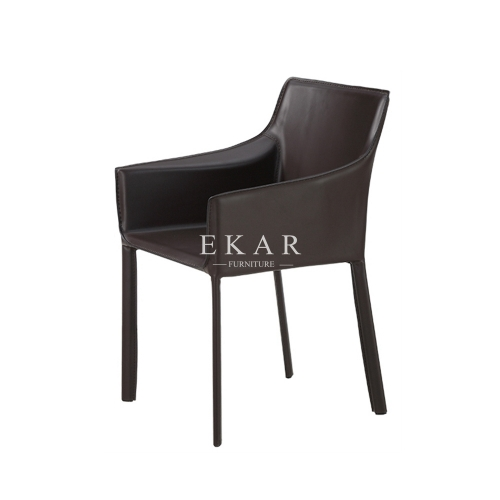 Dining Room Leather Metal Frame Dining Arm Chair