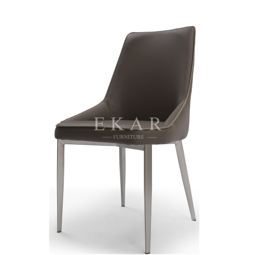 Contemporary Design Metal Frame Dining Room Leather Chair