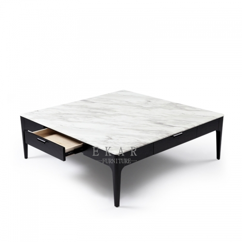 Soild Ash Wooden Frame Marble Top Coffee Table