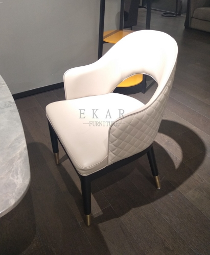 Modern White Leather Upholstered Dining Chair