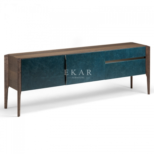 Modern Walnut Wood Leather TV Stand