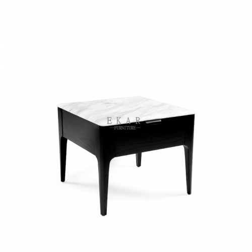Square Marble Top Corner Side Table With Drawer