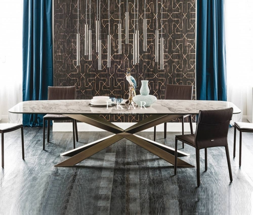Metal Base Marble Top Modern Dining Table