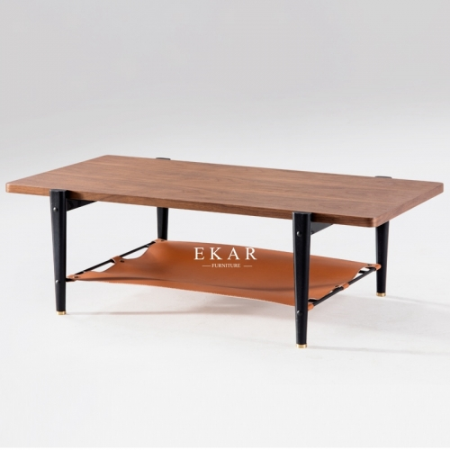 Soild Wood Legs Rectangle Shaped Wooden Coffee Table