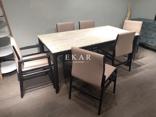 Solid Wooden Frame Marble Top Modern Dining Table