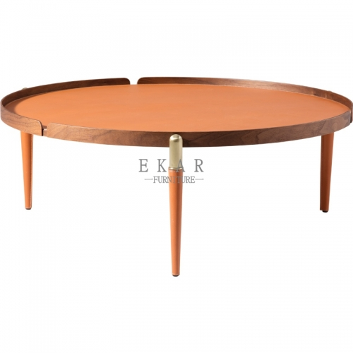 Round Leather Metal Frame Coffee Table