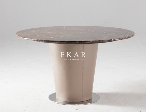Stainless Steel Base Marble Top Round Modern Dining Table