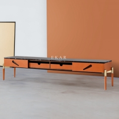 Marble Top Long Modern Leather TV Stand