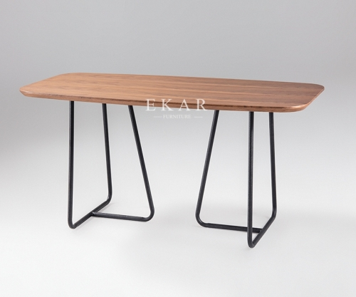 Rectangle Simple Wood Top Metal Frame Dining Table
