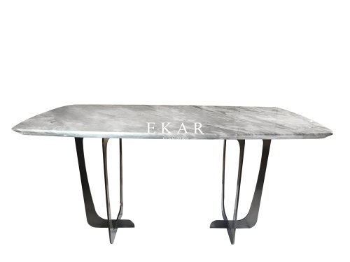 Marble Table Top Metal Base Modern Dining Table