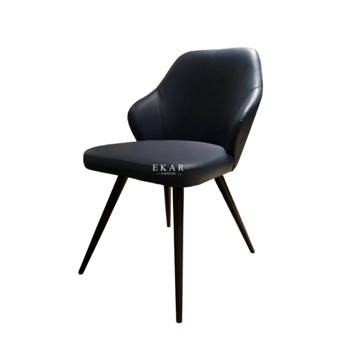 Contemporary Metal Legs Leather Upholstery Dining Chair
