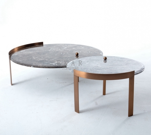 Metal Frame Round Marble Top Coffee Table Set