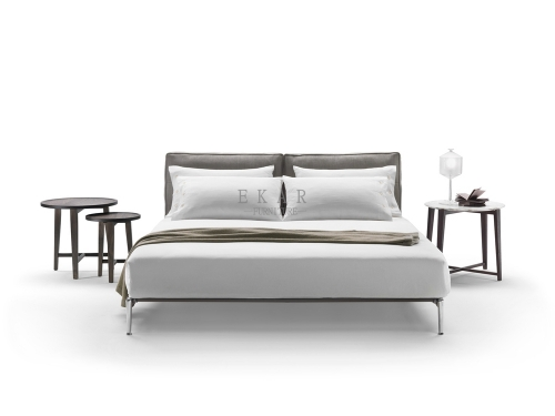Leather Cushion Contemporary Style King Size Bed