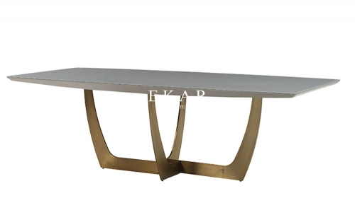Metal Base Glass Table Top Rectangle Modern Dining Table