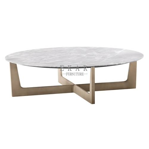 Round White Marble Top Metal Frame Coffee Table