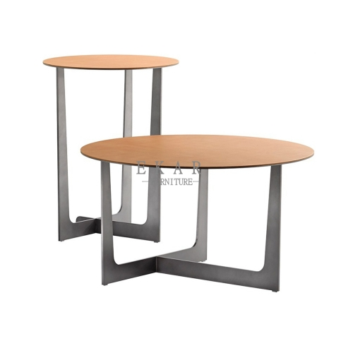 Metal Modern Leather Top Round Corner Table Set