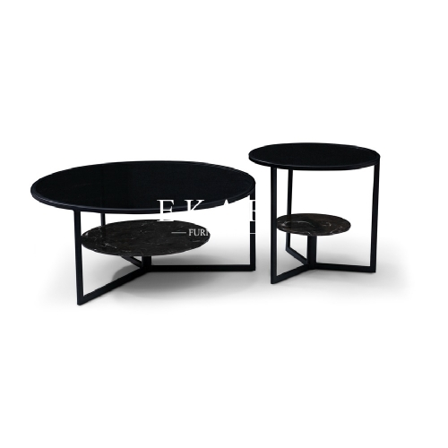 Glass And Marble Top Round Contemporary Coffee Table Set