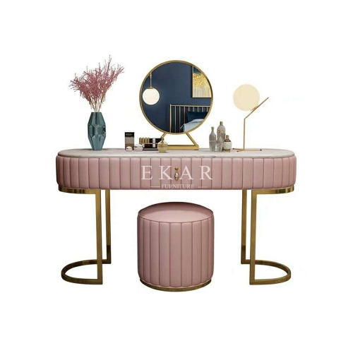 Metal Frame Leather Modern Style Bedroom Dressing Table