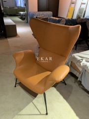 Metal Frame Leather Upholstery Modern Armchair