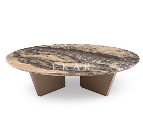 Luxury Living Room Round Marble Top Coffee Table