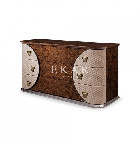 3 Drawer High Gloss Leather Modern Luxury Drawer Chest