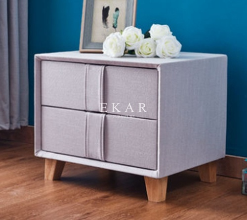 Solid Wood Foot Fabric 2 Drawer Nightstand