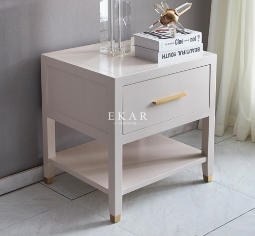 Solid Wood Frame Modern White Bedside Table