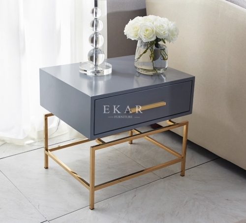 Gray Metal Frame Modern Nightstand