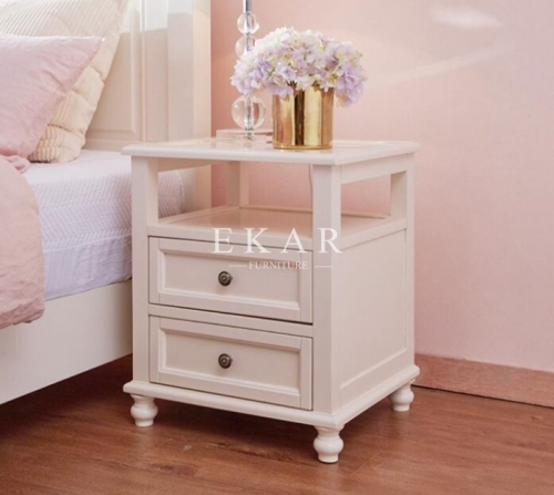 White Solid Wood Frame Modern French Nightstand
