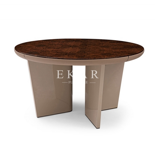 High Gloss Veneer Classic Design Round Dining Table
