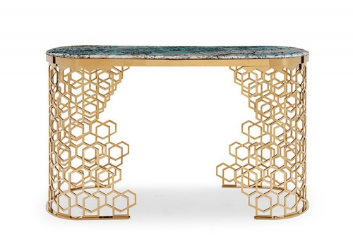Modern High Class Metal Marble Top Console Table