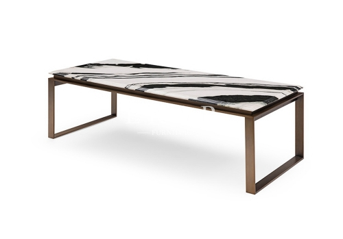 Modern Rectangle Metal Frame Marble Coffee Table
