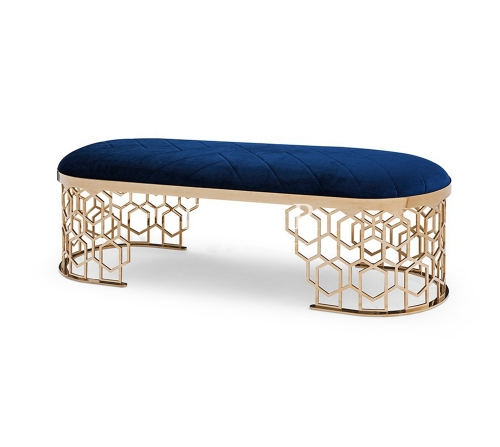Oval Metal Frame Velvet Upholstery Bed Stool