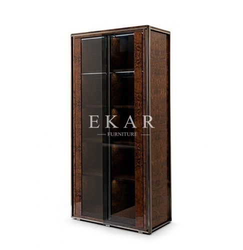 Modern Luxury Veneer Glass Door Cabinet