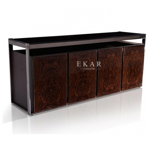 Modern Luxury High Gloss Veneer 4 Door Leather Sideboard