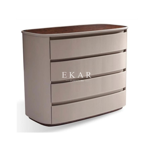High End British Style Modern Leather 4 Drawer Chest