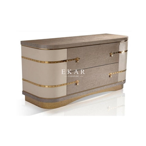 Metal Base High Class Drawer Chest With Lock Decoration